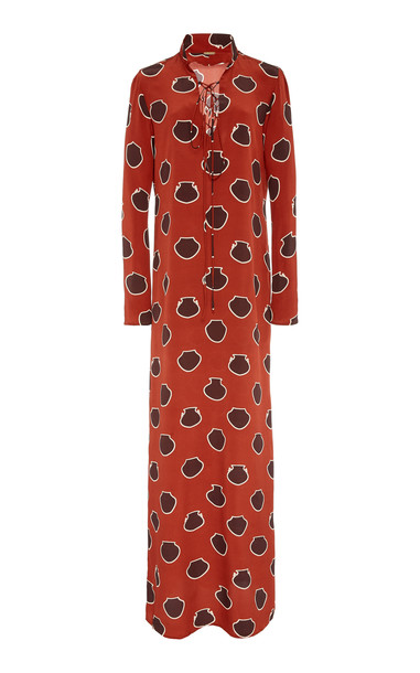 Johanna Ortiz Lace-Up Polka-Dot Silk-Crepe De Chine Maxi Dress Size: in red