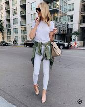 jeans,white jeans,skinny jeans,cropped jeans,sandals,army green jacket,shoulder bag,white t-shirt