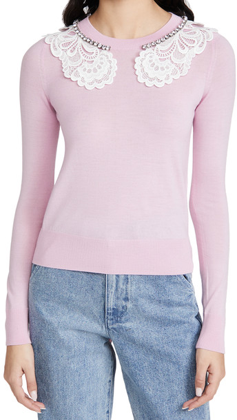 No. 21 Lace and Jewel Collar Sweater in pink