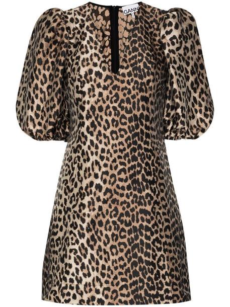 GANNI leopard-print mini dress in brown
