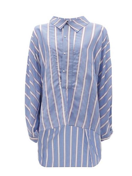 Palmer/harding Palmer//harding - Miad Oversized Ribbon-striped Poplin Shirt - Womens - Blue Multi
