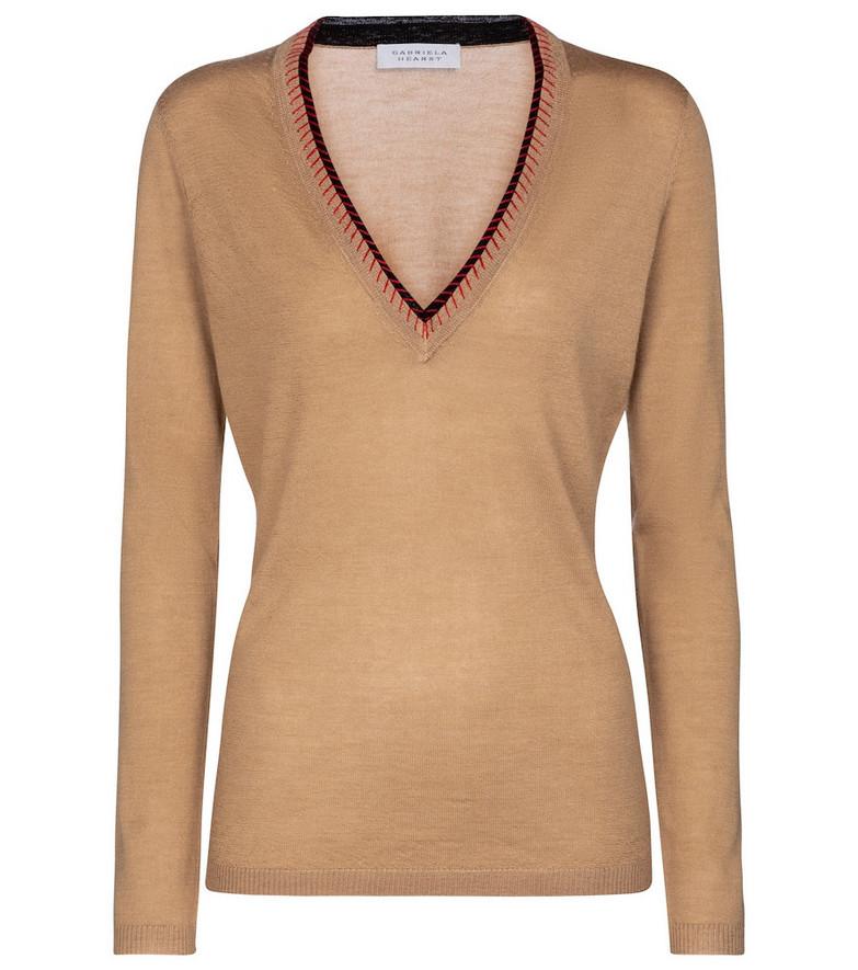 Gabriela Hearst Lorenco cashmere and silk sweater in beige