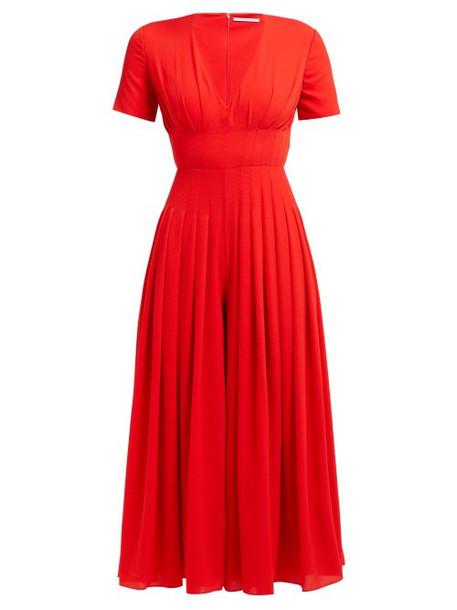 Emilia Wickstead - Rona Pleated Crepe Jumpsuit - Womens - Red