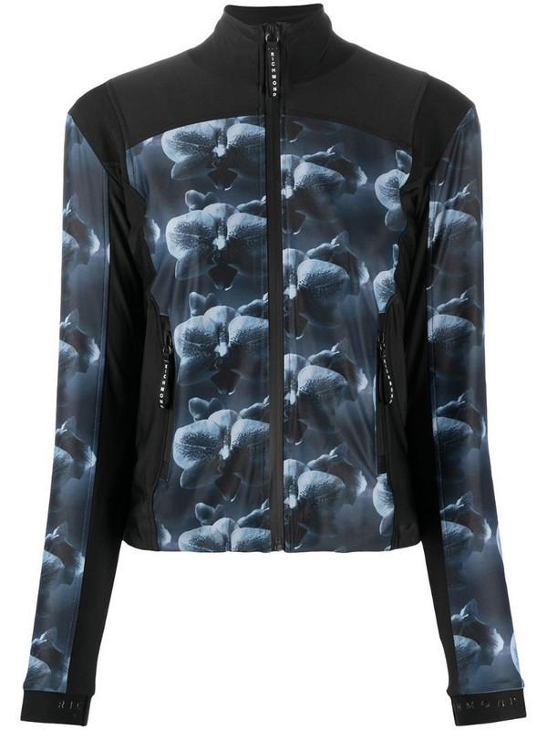 John Richmond floral-print zip-front jacket in black