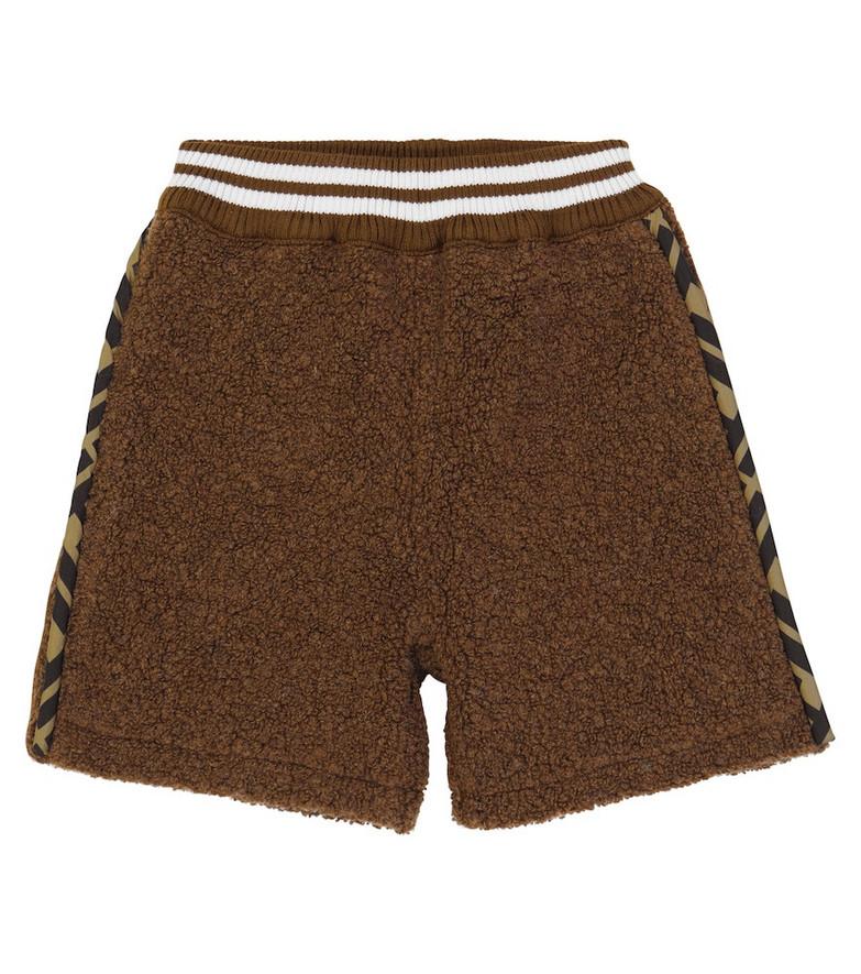 FENDI Kids Wool-blend shorts in brown