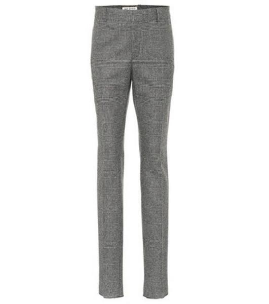 Saint Laurent Glen plaid wool pants in grey