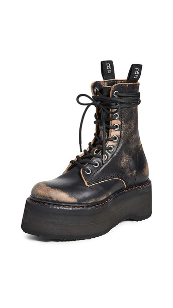 R13 Double Stacked Lace Up Boots