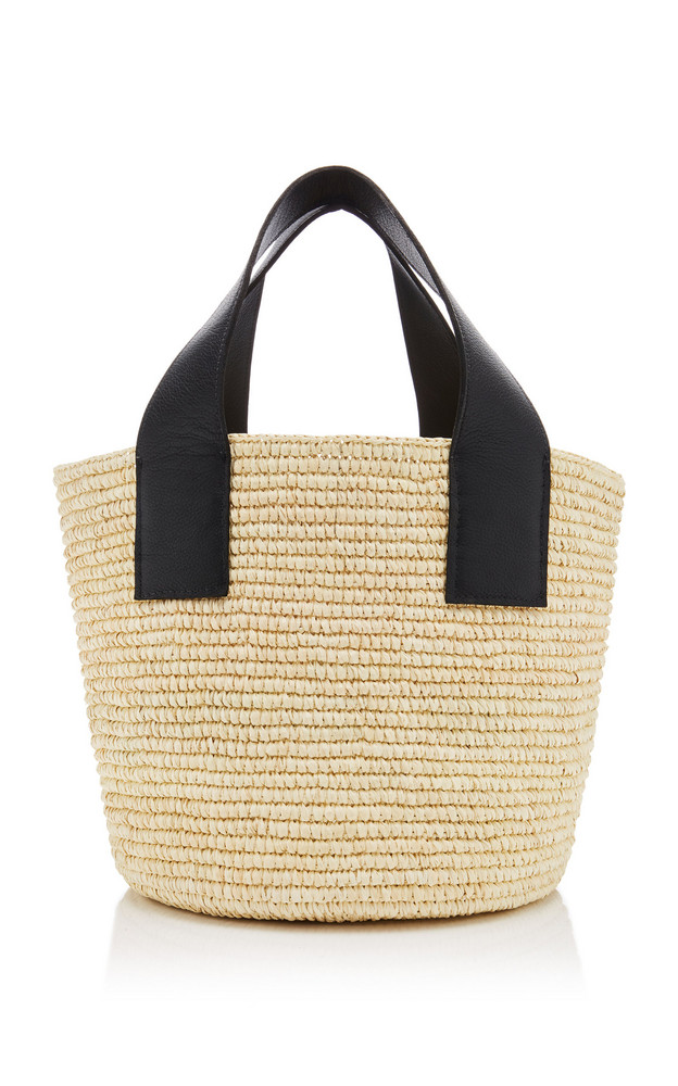 Sensi Studio Oversized Leather-Trimmed Straw Tote in black