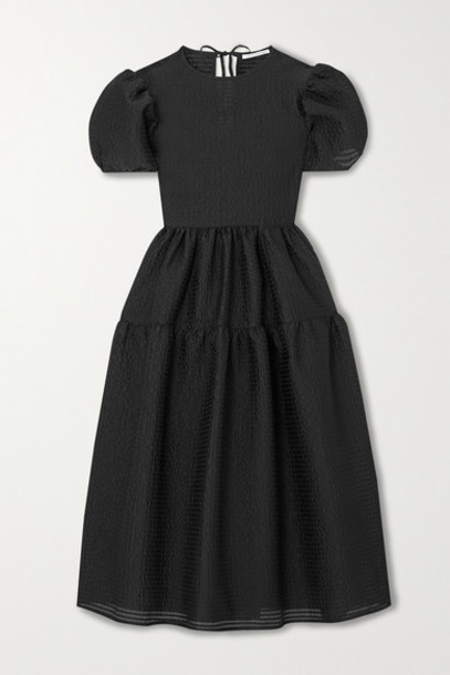 Cecilie Bahnsen - Katja Tiered Cloqué Midi Dress - Black