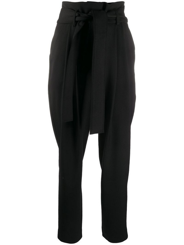 P.A.R.O.S.H. high-waist belted trousers in black
