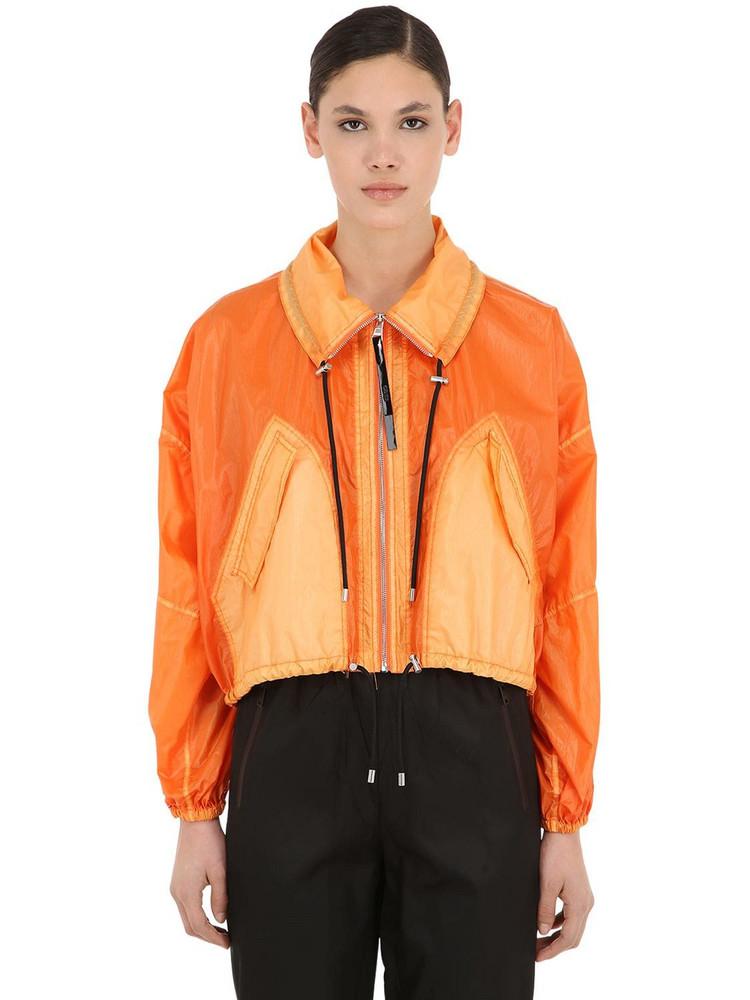 KENZO Cropped Nylon Windbreaker Jacket in orange