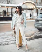 jacket,denim jacket,stripes,white jeans,high waisted jeans,pumps,shoulder bag,white shirt