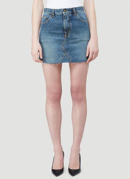 Saint Laurent Denim Mini Skirt in Blue size 25