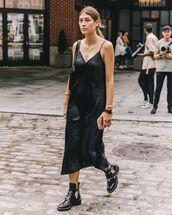 dress,black dress,slip dress,black boots,ankle boots,black bag