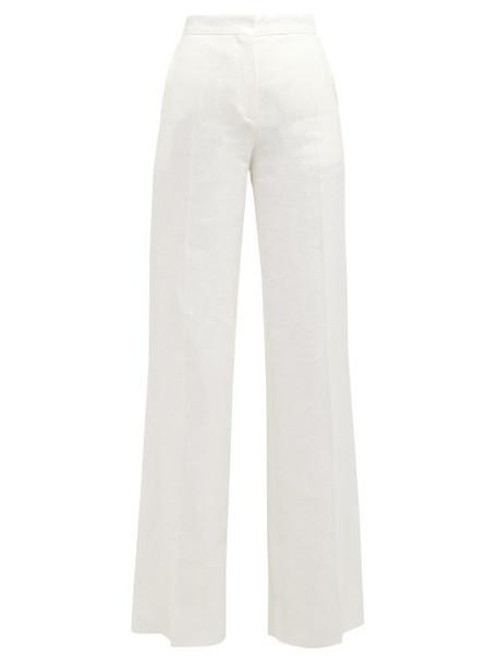 Max Mara Studio - Wide Leg Linen Trousers - Womens - White