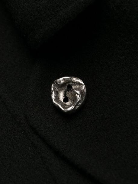 Marni long sculptural-button coat in black