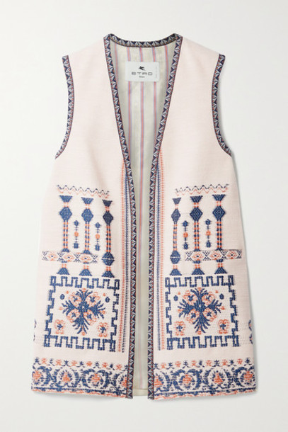 Etro - Jacquard-trimmed Embroidered Wool-blend Vest - Ivory