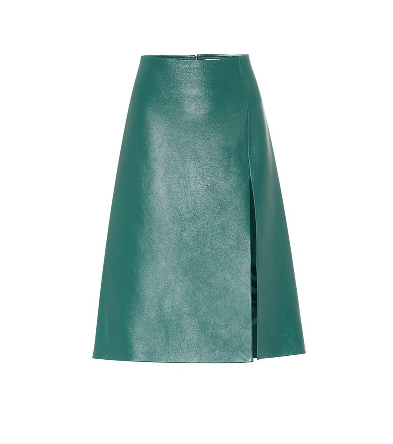 Balenciaga Leather midi skirt in green