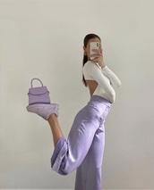 pants,lavender,satin,wide-leg pants,90s style,vintage,retro,trendy