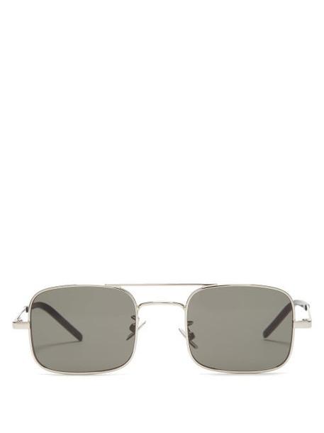 Saint Laurent - Square Metal Sunglasses - Womens - Silver