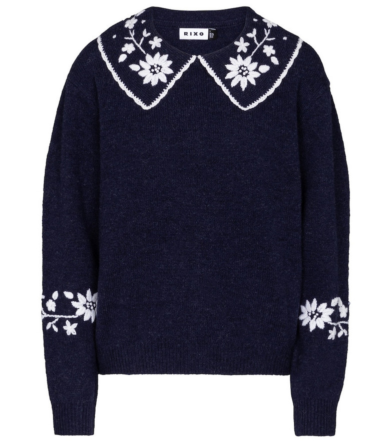 Rixo Lula embroidered wool sweater in blue