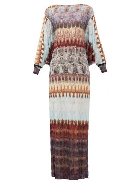 Missoni - Cape-back Metallic Crochet-knit Dress - Womens - Blue Multi
