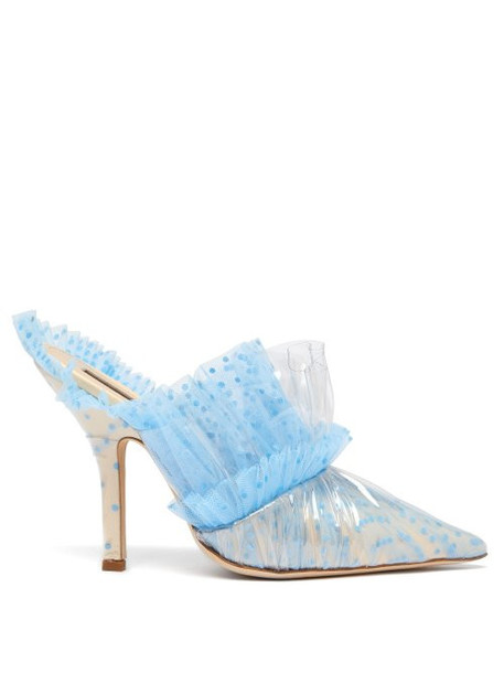 Midnight 00 - Ruched Polka Dot Tulle & Pvc Mules - Womens - Light Blue