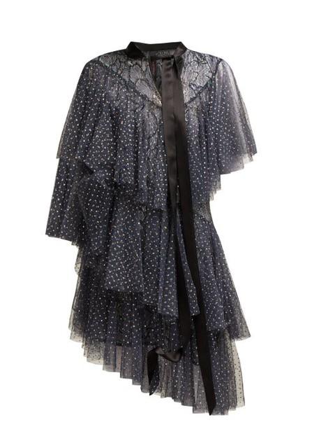 Romance Was Born - Chrysalis Asymmetric Tiered Tulle Dress - Womens - Navy