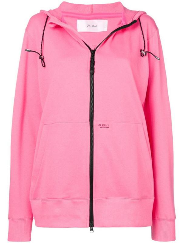 Julien David zip-front hoodie in pink
