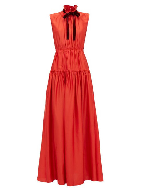 Roksanda - Giona Tie Neck Tiered Crepe Dress - Womens - Red