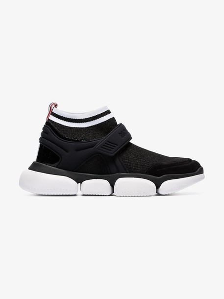 Moncler Black Velcro suede trim sock sneakers
