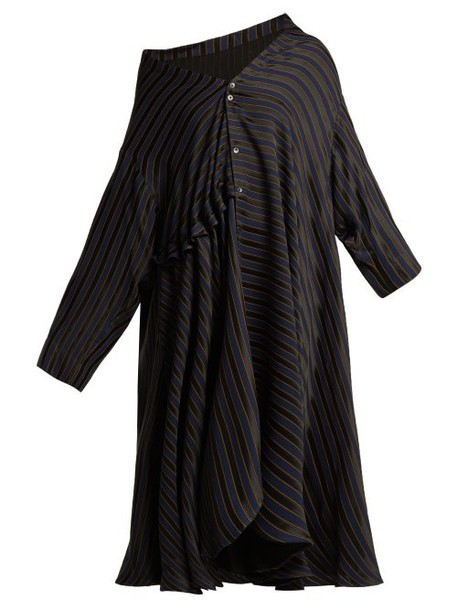 Palmer/harding Palmer//harding - Jasmine Asymmetric Striped Jacquard Shirtdress - Womens - Navy