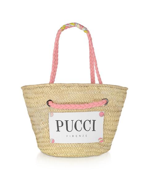 Emilio Pucci Pink & Natural Straw Tote Bag