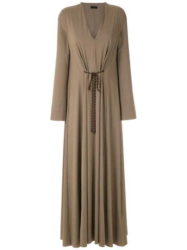 Osklen V-neck ankle-length dress in neutrals