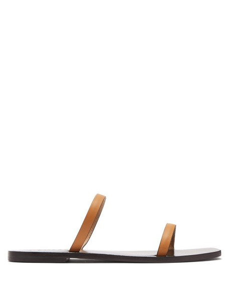 A.emery - Lola Double Strap Leather Slides - Womens - Tan