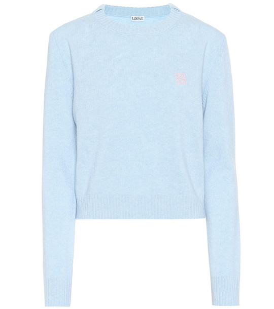 Loewe Cropped wool sweater in blue