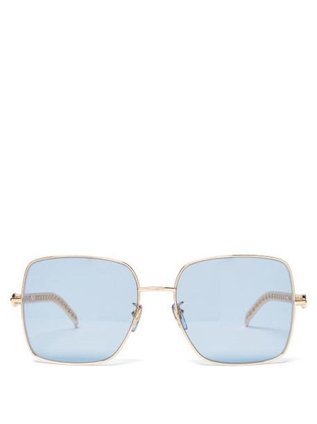 Gucci - Square Metal Sunglasses - Womens - Blue Gold