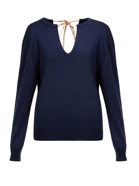 Chloé Chloé - Split Neck Silk Blend Sweater - Womens - Navy