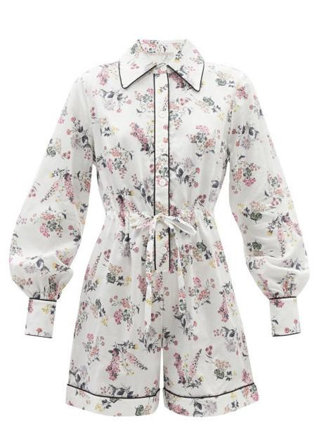 Emilia Wickstead - Blossom Floral Cotton-poplin Playsuit Pyjamas - Womens - White Print