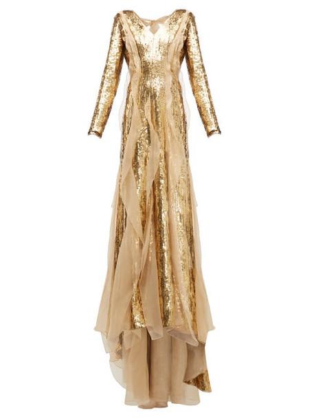Carolina Herrera - Sequinned Silk Organza Gown - Womens - Gold