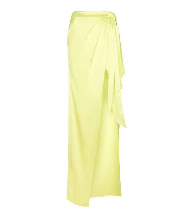 David Koma Satin maxi skirt in yellow