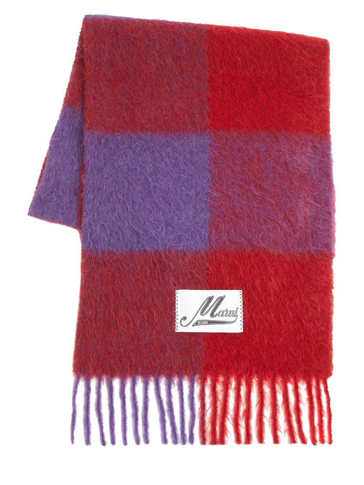 MARNI Fringed Alpaca Blend Woven Scarf in red