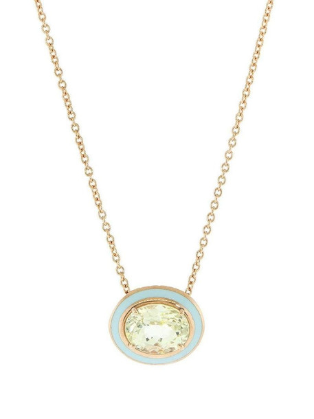 Selim Mouzannar 18kt rose gold, yellow sapphire and light blue enamel necklace in pink
