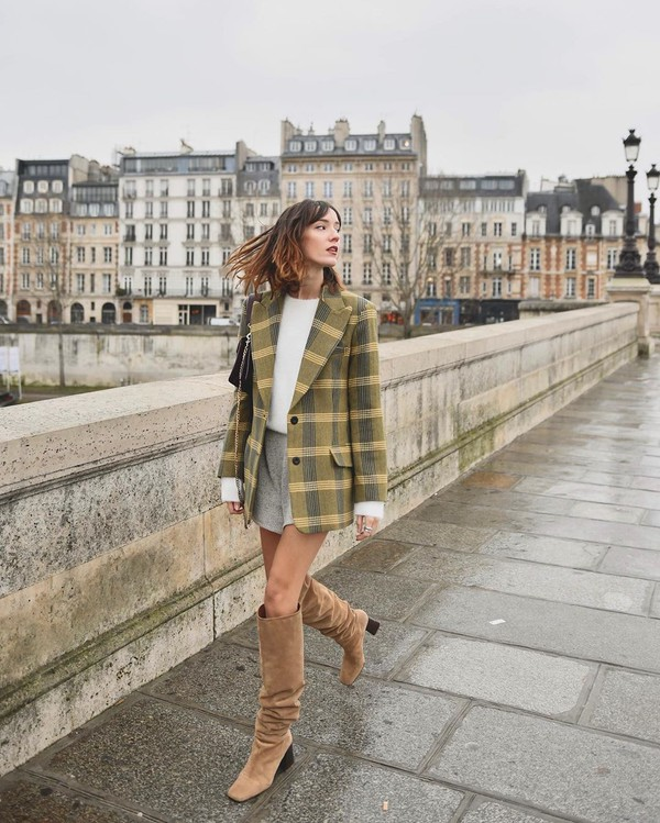 jacket blazer plaid knee high boots suede boots heel boots white sweater grey shorts black bag
