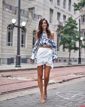 top,crop tops,long sleeves,off the shoulder,mini skirt,white skirt,wrap skirt,sandals,white bag