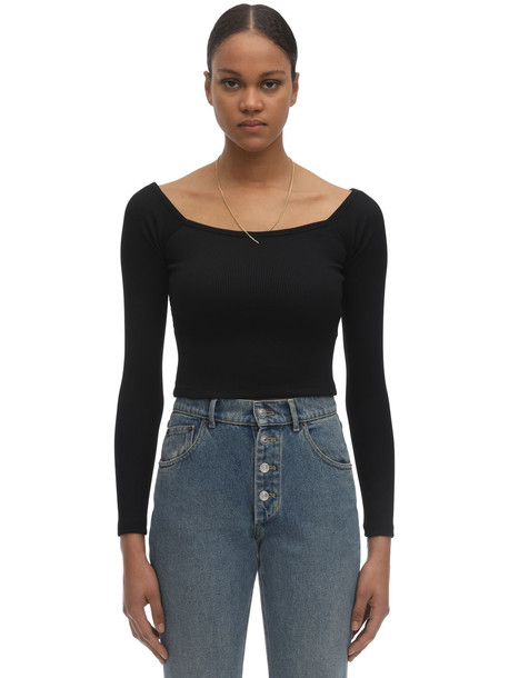 ALEXANDER WANG Chain & Off-the-shoulder Knit Nylon Top in black