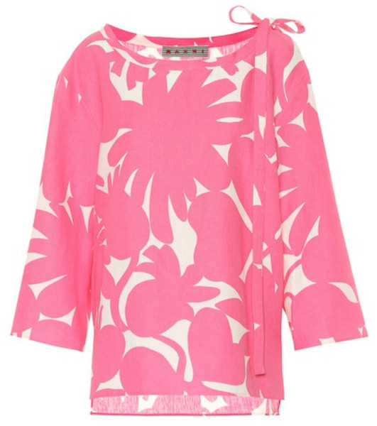 Marni Printed linen-blend shirt in pink