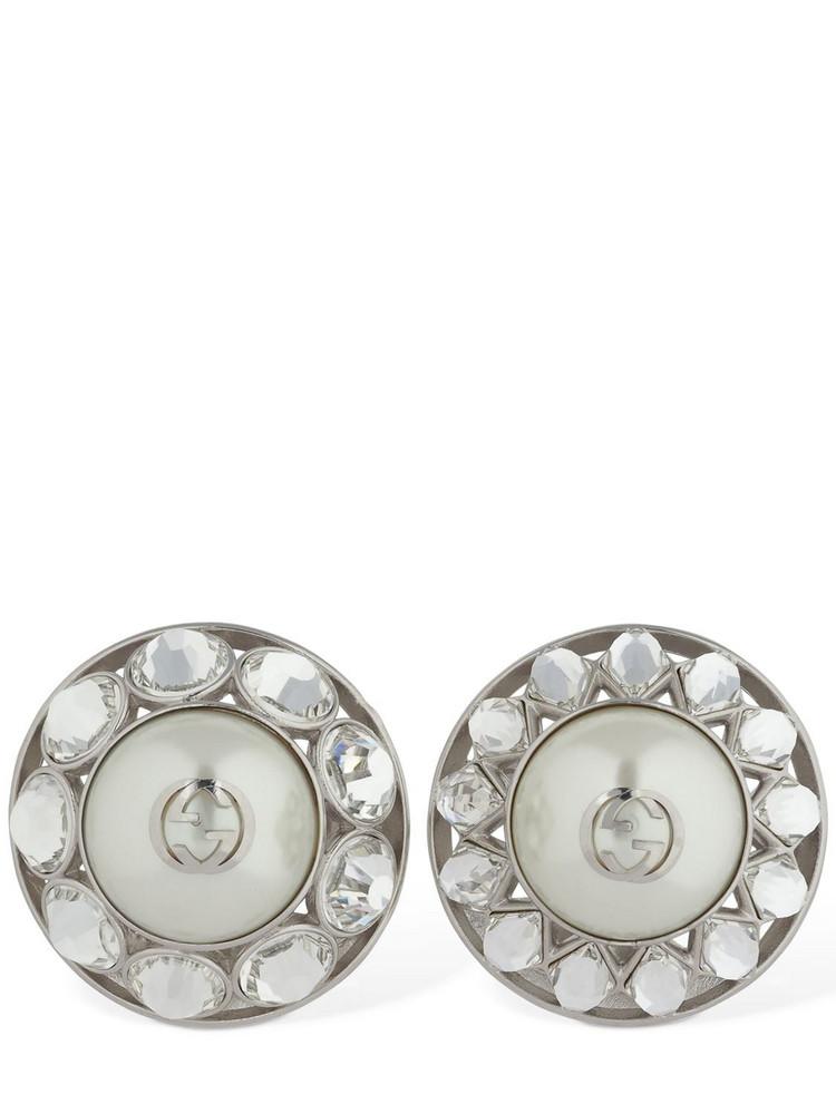 GUCCI Gg Interlocking Clip-on Earrings in silver
