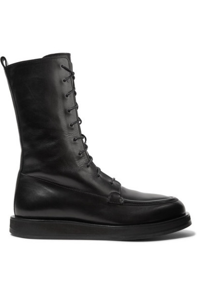 The Row - Patty Lace-up Leather Ankle Boots - Black