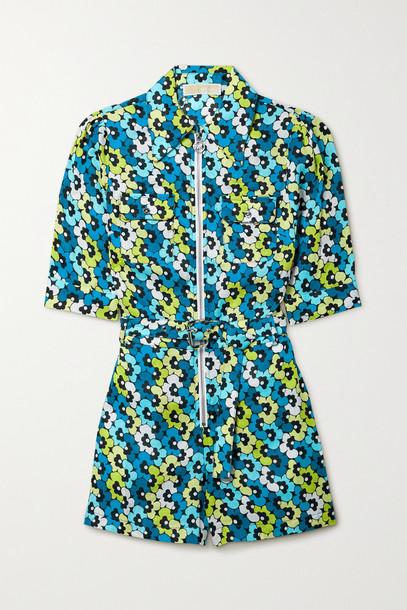 MICHAEL MICHAEL KORS - Belted Floral-print Hemp Playsuit - Blue